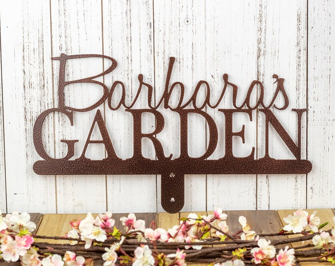 Personalized Garden Sign | Metal Garden Sign | Garden Decor | Metal Garden Art | Custom Metal Sign | Laser Cut Sign | Copper Vein shown
