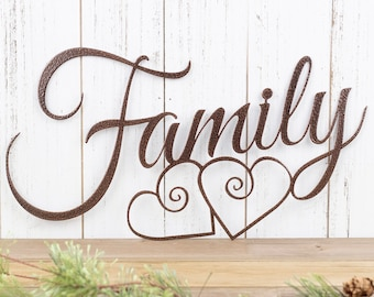 Family Metal Sign | Metal Wall Art | Family Sign | Metal Wall Decor | Hearts | Family Wall Art | Wall Hanging | Metal Sign