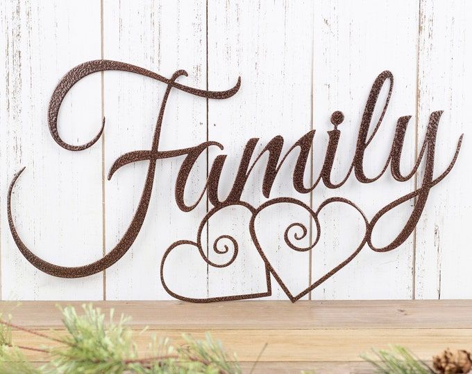 Family Metal Sign | Metal Wall Art | Family Sign | Metal Wall Decor | Hearts | Family Wall Art | Wall Hanging | Metal Sign