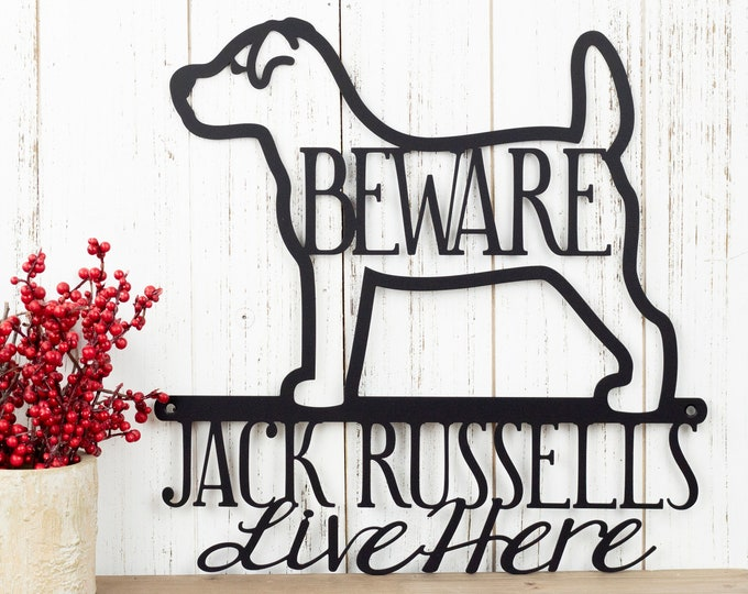 Jack Russells Live Here Metal Sign - Black, 12x12, Jack Russell, Metal Wall Art, Dog Lover Gift, Door Sign, Outdoor Sign