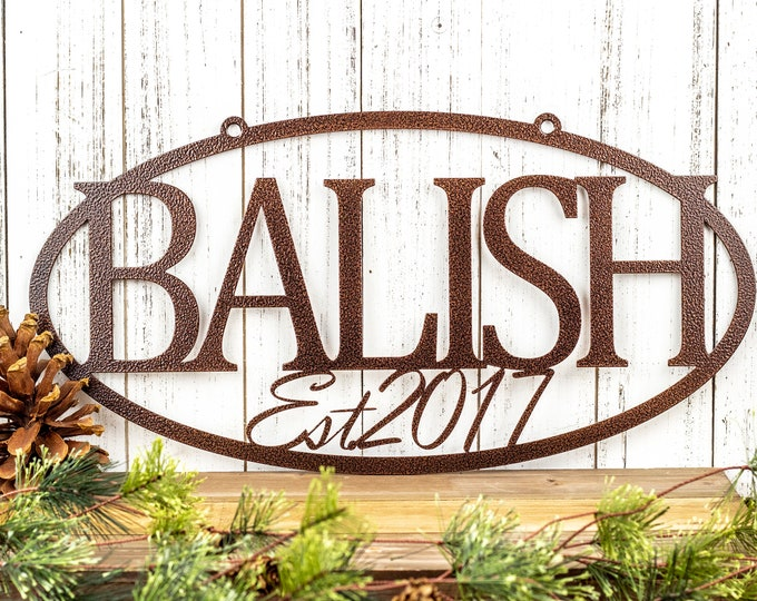 Custom Established Family Last Name Metal Sign, Outdoor Wall Hanging in Laser Cut Steel, Home Decor, Personalized Wedding Gift, 20in x 10in
