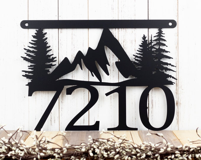 Mountain House Number Metal Sign   Address Sign   Address Plaque   House Numbers   Metal Wall Art   Mountains   Custom Sign