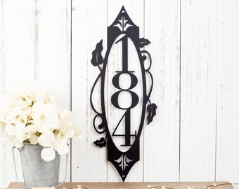 Vertical House Number Sign   Metal Sign   Custom Metal Sign   Address Sign   Address Plaque   House Numbers   Outdoor Sign