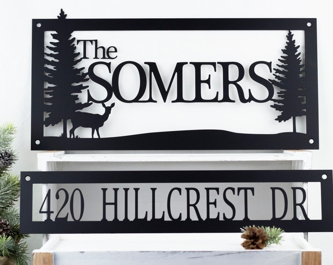Custom Family Name Address Metal Sign | Family Name Sign | Metal Wall Art | House Numbers | Outdoor Sign | Address Sign