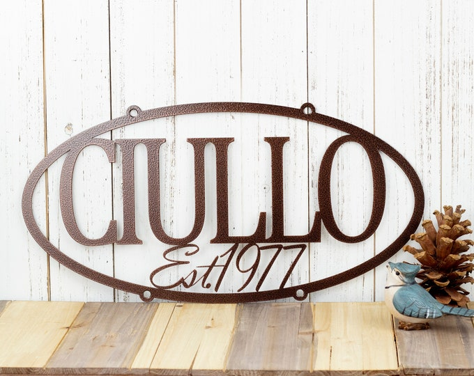 """CUSTOM Family Name Established Year Oval Metal Sign 