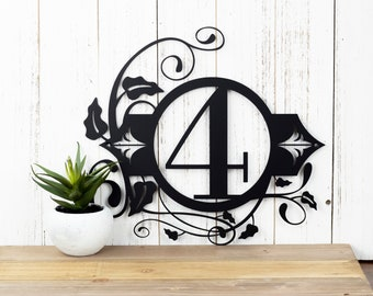 Custom Outdoor House Number Metal Sign - 1 Digit, Black, 13.5x12.5, Address Plaque, Metal Sign, Custom Sign, Personalized