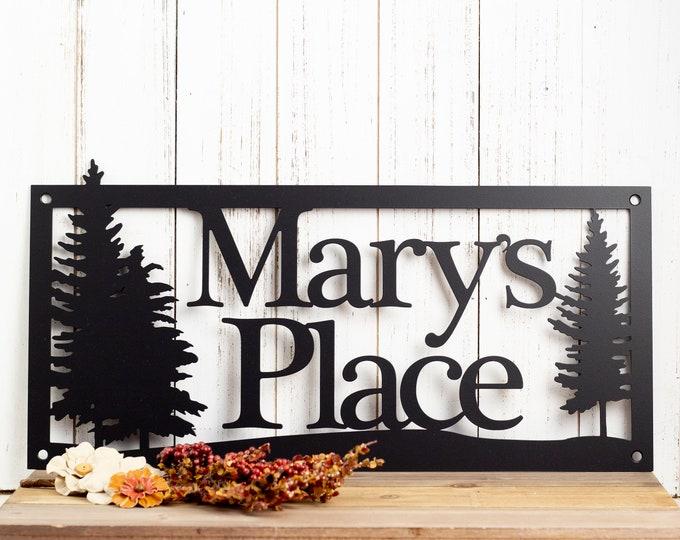 Custom Metal Sign | Outdoor Sign | Family Name | Custom Sign | Wedding Gift | Anniversary | Sign | Metal Wall Art | Pine Trees
