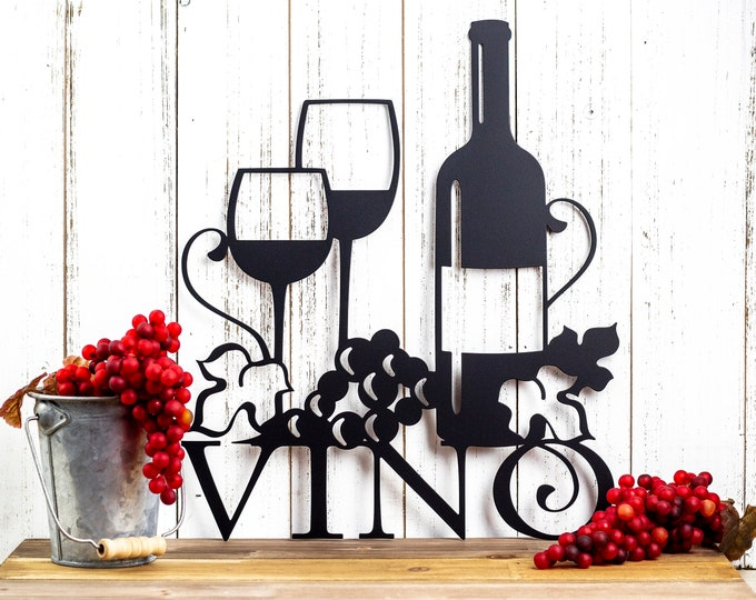 Vino Metal Wall Art | Wine | Vino | Wine Sign | Wine Wall Decor | Wine Decor | Kitchen Decor | Metal Sign | Wedding Gift