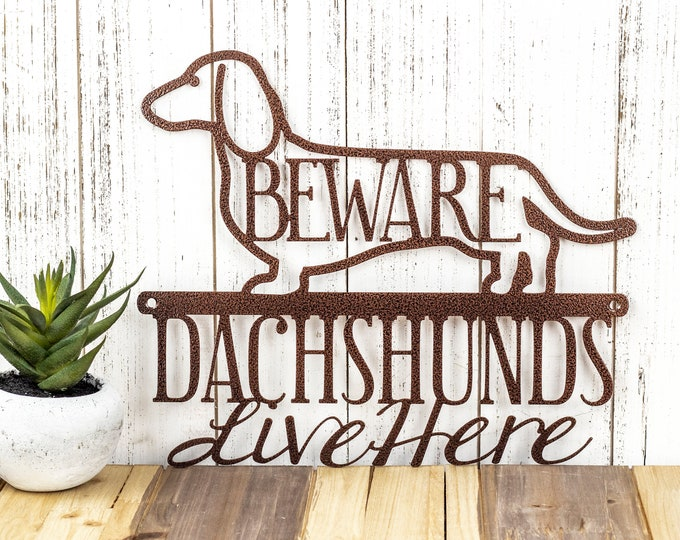 Dachshunds Live Here Metal Sign - Copper, 12x9.5, Weiner Dog, Dachshund, Door Sign, Dachshund Gift, Toy Dog, Metal Wall Art