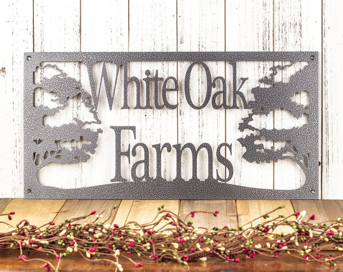 "Custom Metal Sign | Oak Tree | Personalized Sign | Outdoor Sign | Custom Sign | Rustic | Metal Wall Art | 20""W x 10""H 
