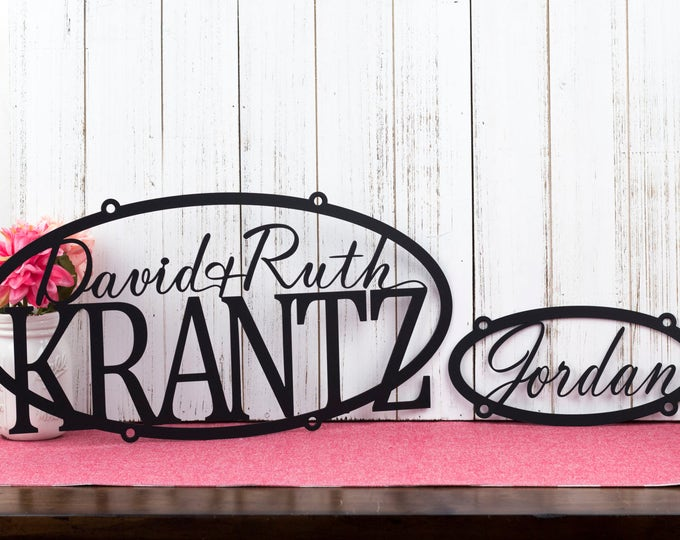 Metal Signs Personalized, Metal Signs Custom, Outdoor Metal Wall Art, Custom Outdoor House Signs, Metal Sign, Oval, Hanging, Decor