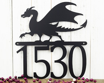 Dragon Outdoor Metal House Number Sign | House Numbers | Custom Sign | Address Plaque | Address Sign | Fantasy | Custom Metal Sign | Sign