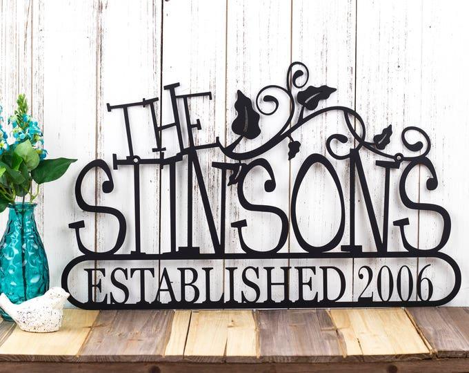 Family Established Metal Sign | Family Name Sign | Established Family | Custom Sign | Name Sign | Outdoor Sign | Vines