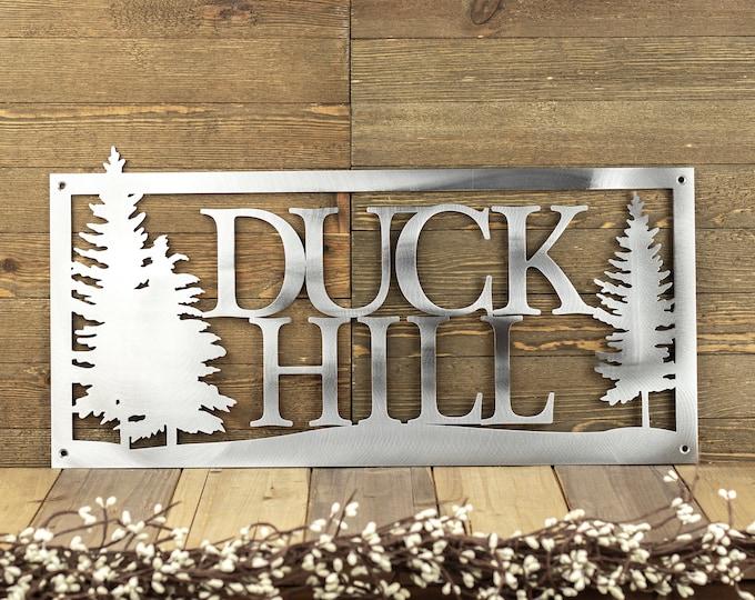 Custom Metal Sign | Outdoor Sign | Family Name | Custom Sign | Wedding Gift | Anniversary | Sign | Metal Wall Art | Cabin Decor | Pine Trees