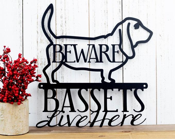 Basset Hound Metal Wall Art | Beware | Metal Sign | Outdoor Sign | Basset | Hound | Metal Wall Decor | Wall Hanging