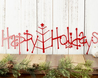 Happy Holidays Metal Sign with Christmas Tree - Red, 20x6.5, Christmas Tree, Outdoor Wall Art, Holiday Decor, Christmas