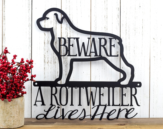 Rottweiler Metal Wall Art | Metal Sign | Outdoor Sign | Rottweilers | Metal Wall Decor | Wall Hanging | Beware | Pet | Gift | Dog Sign