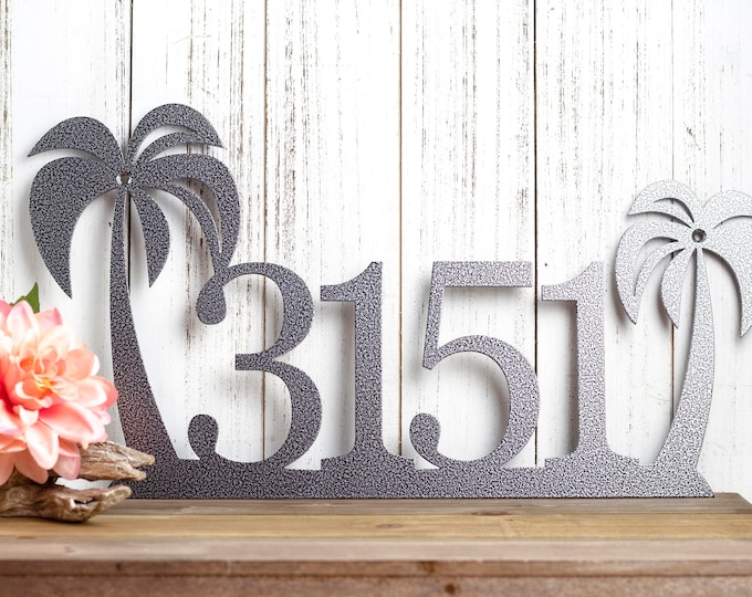 Palm Tree House Number | Custom Metal Sign | Custom Sign | House Number Sign | Address Sign | Personalized Sign | Wall Art | Personalized