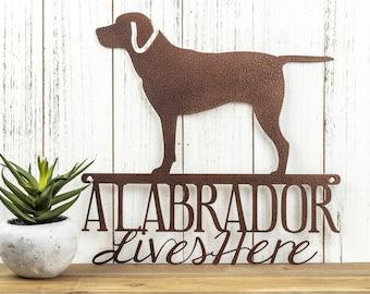 Labrador Lives Here Sign - Metal, Copper, 12x11.75,  Laser Cut, Labrador Retriever, Dog, Lab, Labrador Art, Labrador Decor