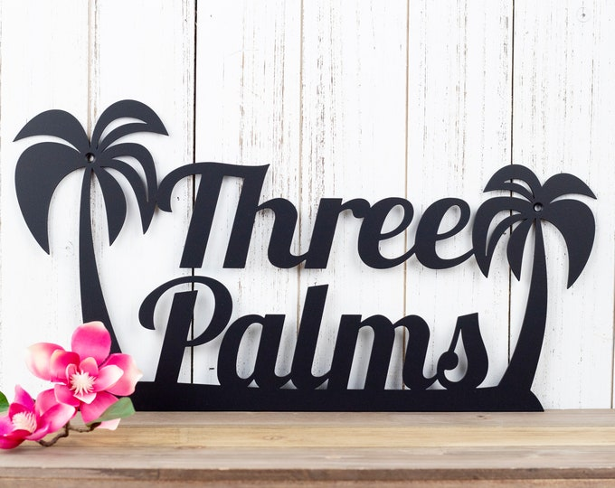 Palm Tree Custom Name Metal Sign | Tropical | Beach | Ocean | Beach House Sign | Metal Wall Art | Outdoor Sign | Custom Sign