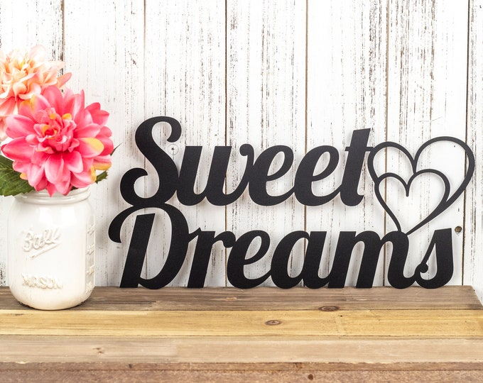 Sweet Dreams Metal Sign - Black, 15x7, Hearts, Metal Wall Art, Outdoor Sign, Wall Art, Sign, Signage, Plaque, Door Sign