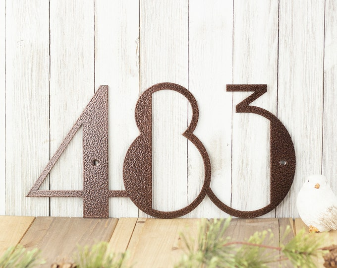 Modern House Number Plaque | Metal House Numbers | Modern House Numbers | Art Deco | Custom Metal Sign | Laser Cut Sign | Copper Vein shown