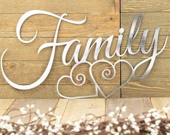 Family Metal Wall Art | Hearts | Family Sign | Metal Sign | Family Decor | Family Wall Decor | Wedding Gift | Wall Hanging