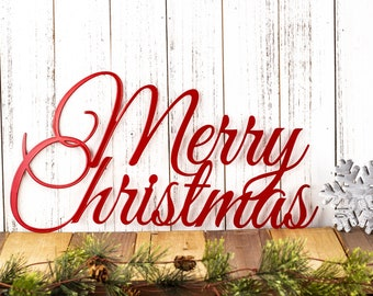 Merry Christmas Metal Sign | Metal Wall Art | Christmas Decor | Christmas Sign | Metal Wall Decor | Outdoor Sign | Wall Hanging | Sign
