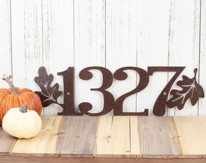 Custom Outdoor House Number Metal Sign with Oak Leaves - 4 Digit, Copper, 17.85x5.25,  Address Plaque, Outdoor Sign