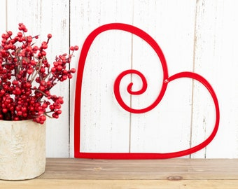 Heart Metal Wall Art - Red, 9x8, Metal Wall Art, Wall Art, Outdoor Metal Wall Art, Heart, Garden Decor, Outdoor Wall Art