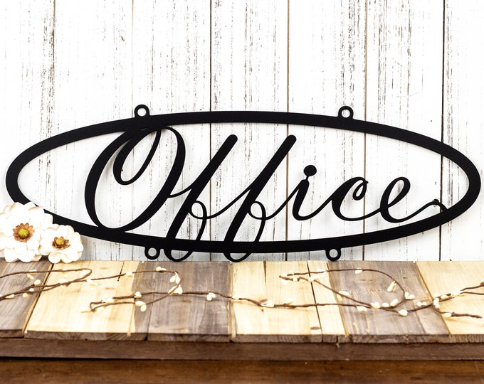 Office Metal Sign | Office Decor | Shop Sign | Business Sign | Metal Wall Decor | Oval Sign | Metal Wall Art | Sign | Outdoor Sign