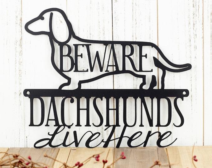Dachshunds Live Here Metal Sign - Black, 12x9.5, Weiner Dog, Dachshund, Door Sign, Dachshund Gift, Toy Dog, Metal Wall Art