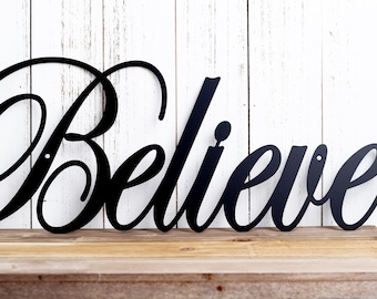Believe Metal Wall Art | Metal Sign | Christmas Decor | Metal Wall Decor | Sign | Wall Hanging | Outdoor Sign | Inspirational | Wall Art