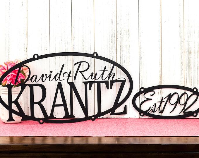 Family Name Established Sign | Laser Cut Metal Sign | Outdoor Metal Wall Art | Family Est Sign | Established Family Sign | Matte Black shown