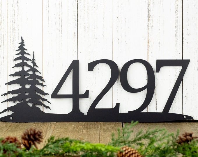 Rustic Metal House Number   Metal Sign   Custom Sign   Pine Tree   House Numbers   Metal Wall Art   Outdoor Sign   Address   4 Digit Only