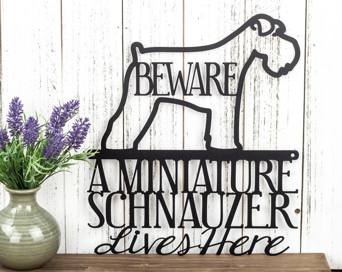 Miniature Schnauzer Lives Here Metal Sign - Black, 11.5x13, Outdoor Sign, Schnauzer, Metal Wall Art, Door Signs