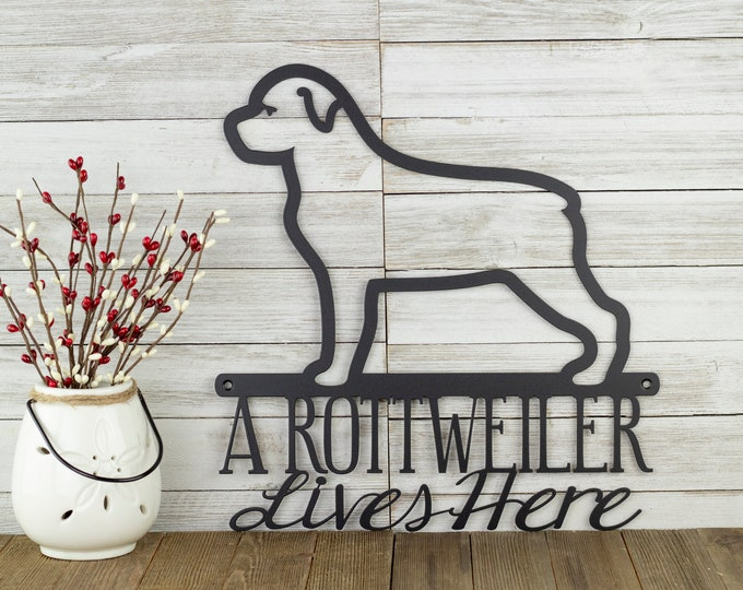 Rottweiler Sign | Metal Wall Art | Beware of Dog Sign | Dog Mom | German | Dog Sign | Dog Silhouette | Laser Cut Sign | Matte Black shown