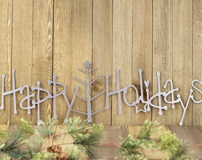 Happy Holidays Metal Sign with Christmas Tree - Silver, 20x6.5, Christmas Tree, Outdoor Sign, Holiday Decor, Christmas