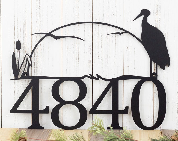 "House Number Plaque in Laser Cut Metal with Heron & Cattails | Number Sign | Lake House Decor | Cabin Signs | Matte Black shown | 17""x13"