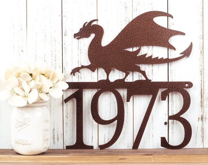 Dragon Metal House Number Sign | Fantasy | Medieval | Metal Wall Art | Dragon Sign | Outdoor Sign | Address Sign | Metal | Custom Sign