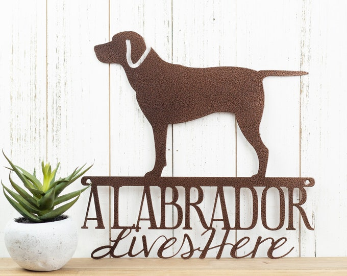 Labrador Lives Here Sign - Metal, Copper, 12x11.75,  Laser Cut, Labrador Retriever, Dog, Lab, Labrador Art, Labrador Decor