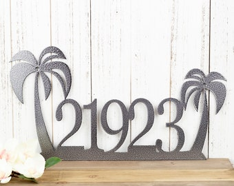 House Number Palm Tree Metal Sign, Outdoor Address Plaque in Laser Cut Steel, Beach Decor, Tropical Decor, Housewarming Gift, 18in x 9.5in