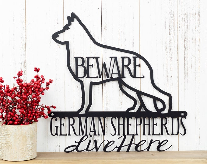 "German Shepherd Sign | Metal Wall Art | Dog Lover Gift | Dog Mom | Metal Wall Hanging | Outdoor Wall Art | Matte Black shown | 12""x12"""