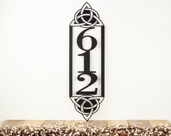 Celtic Knot Vertical Outdoor House Number Metal Sign - 3 Digit, Black, 6.5x22, Address Plaque, Custom Sign, Outdoor Sign