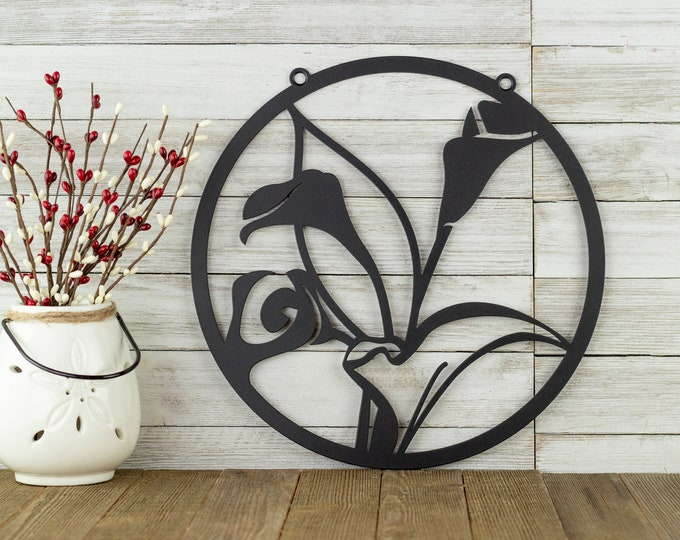 Calla Lily Flower Garden Sign | Outdoor Metal Wall Art | Garden Decor | Metal Garden Sign | Mothers Day | Laser Cut Sign | Matte Black shown