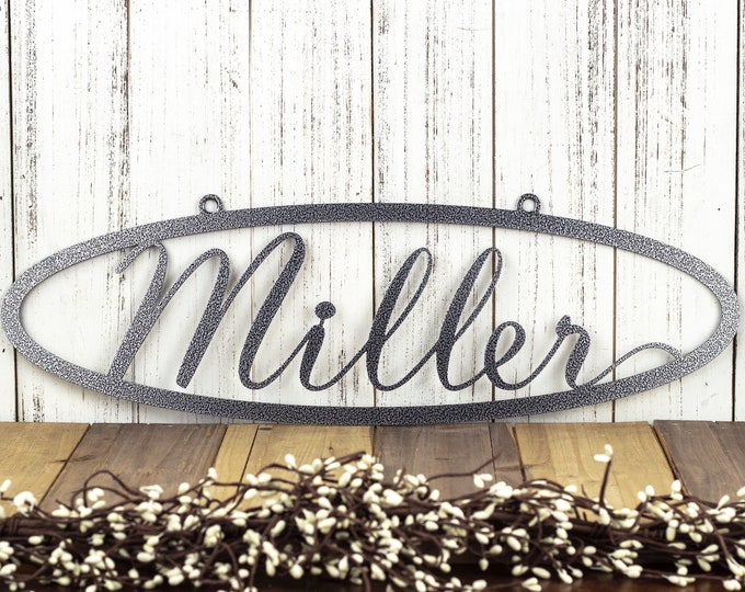 "CUSTOM Family Name Oval Metal Sign | Silver Vein | 20""W x 6.5""H 