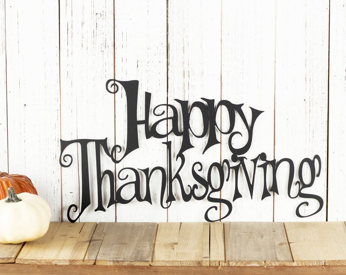 Happy Thanksgiving Metal Wall Art, Thanksgiving Plaque, Thanksgiving Sign, Fall Decor