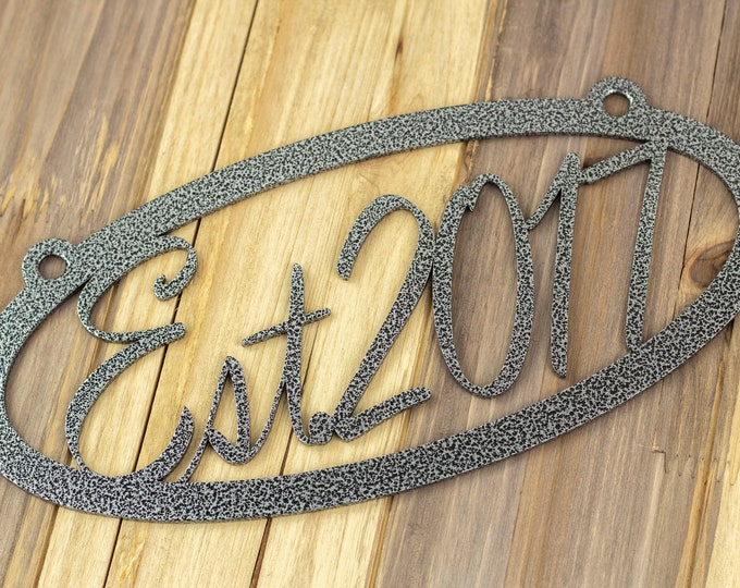 "Established Oval Metal Sign | Metal Wall Art | Wedding Gift | Established Family | Family Sign | Steel | 10.5""W x 5""H 