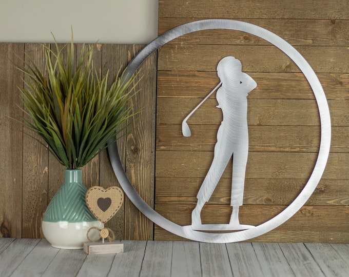 Golf Decor with Girl | Metal Wall Art | Golf Sign | Golf Gift | Golf Art | Metal Sign | Kids Room Decor | Laser Cut Sign | Raw Steel shown