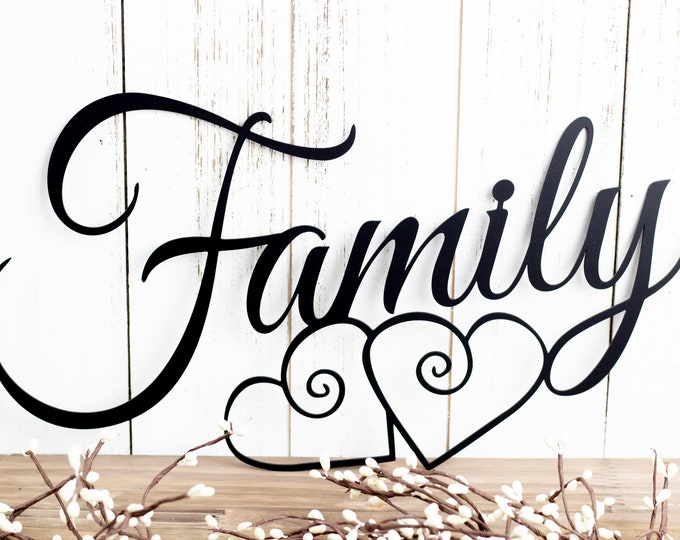 Family Metal Wall Art | Hearts | Family Sign | Metal Sign | Family Decor | Family Wall Decor | Wedding Gift | Wall Hanging